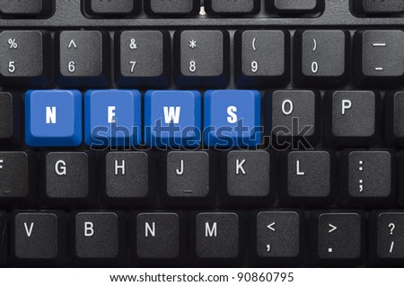 News word on blue and black keyboard button - stock photo