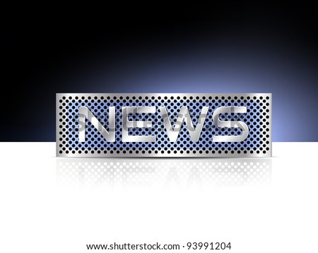 News word on metal plate - business background