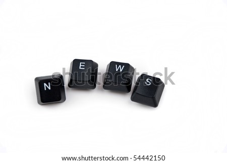 News word with keys of computer keyboard isolated on white background and copy space for text message