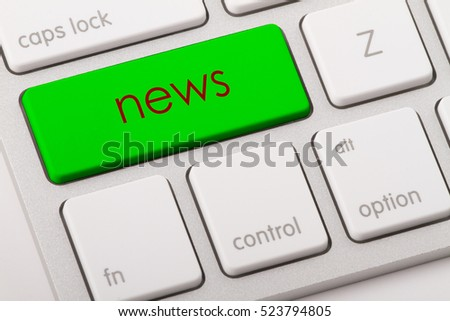 News word written on computer keyboard.