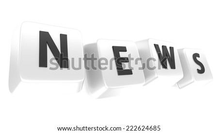 NEWS written in black on white computer keys. 3d illustration. Isolated background. - stock photo