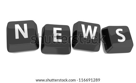 NEWS written in white on black computer keys. 3d illustration. Isolated background. - stock photo