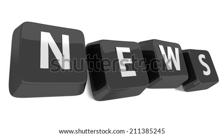 NEWS written in white on black computer keys. 3d illustration. Isolated background. - stock photo