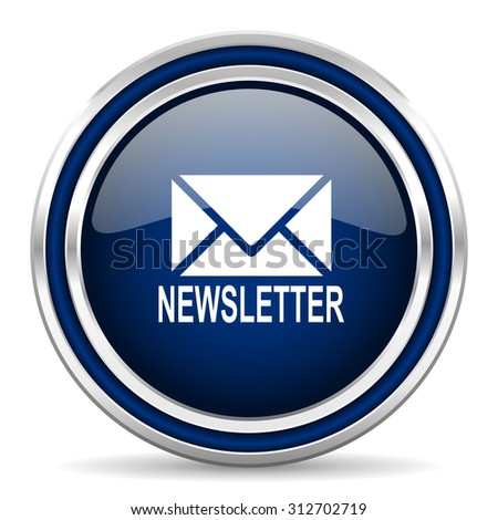 newsletter blue glossy web icon modern computer design with double metallic silver border on white background with shadow for web and mobile app   - stock photo
