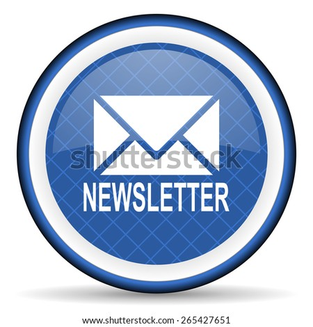 newsletter blue icon   - stock photo