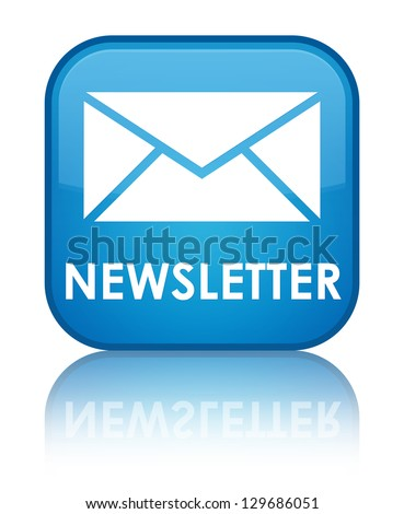 Newsletter (email icon) glossy blue reflected square button - stock photo