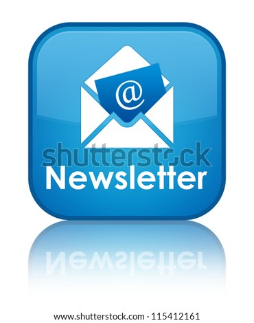 Newsletter glossy blue reflected square button - stock photo