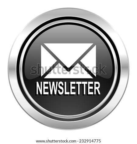 newsletter icon, black chrome button  - stock photo
