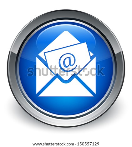 Newsletter icon glossy blue button - stock photo