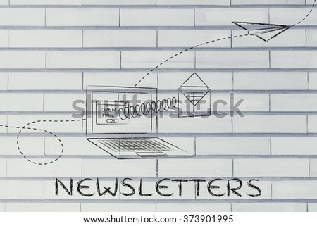 newsletters: email envelope coming out of laptop screen with a screen - stock photo