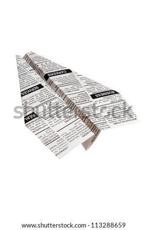 Newspaper Airplane, Classified Ad, business concept. - stock photo