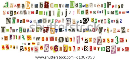 Newspaper alphabet with numbers and symbols, isolated on white - stock photo