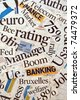Newspaper and magazine headlines with financial terms and concept - stock photo