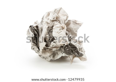 Newspaper ball with white background - stock photo