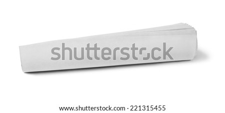 Newspaper Blank rolled up newspaper on white background - stock photo
