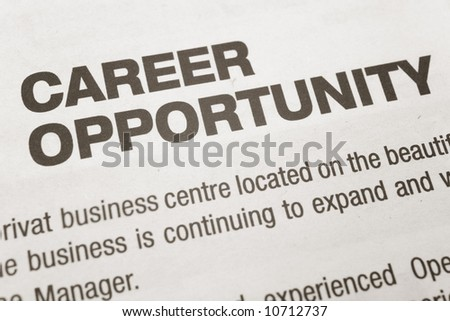 newspaper Career Opportunity ad, Employment concept - stock photo