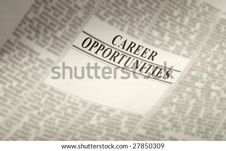 newspaper career opportunity ad, employment concept. jobs available - stock photo