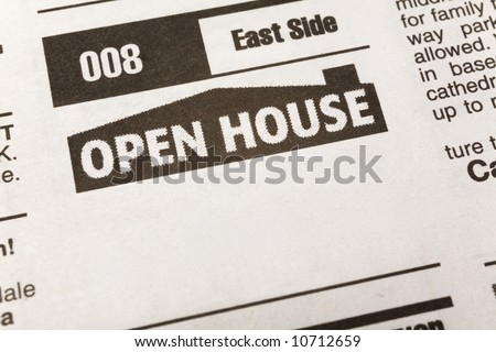 newspaper Classified Ad, Open House, Real Estate concept