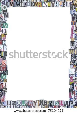 Newspaper cutout letters border stock illustration 75304291 newspaper cutout letters border spiritdancerdesigns Gallery