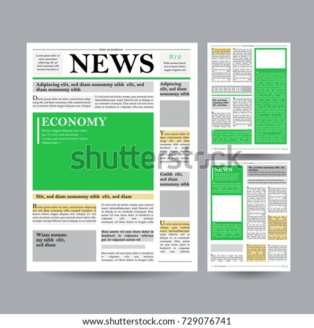Newspaper Design Template Modern Newspaper Layout Stock Illustration