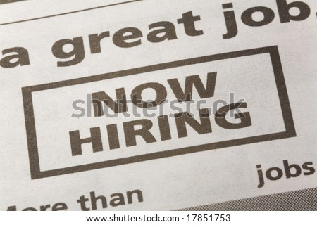 newspaper employment ad, Now Hiring, Employment concept - stock photo