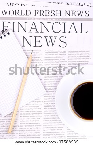 Newspaper FINANCIAL NEWS top view - stock photo
