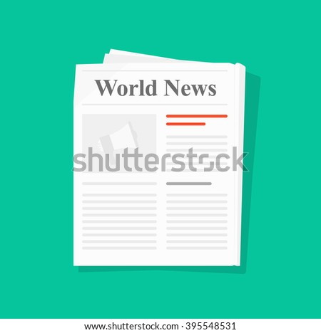 Newspaper folded icon, news paper front page top view abstract printed text articles and headlines, world news, daily paper rolled, journal, magazine flat design illustration isolated on green image - stock photo