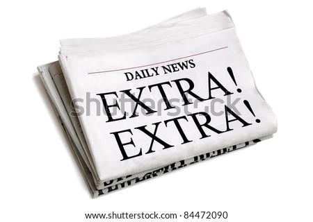 Newspaper headline Extra Extra isolated on white background - stock photo