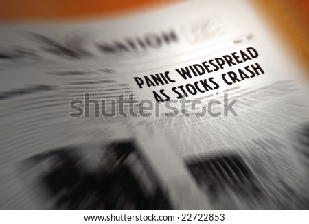 Newspaper headline warning of stock market crash - stock photo