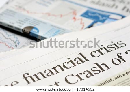 Newspaper headlines - financial crisis - stock photo
