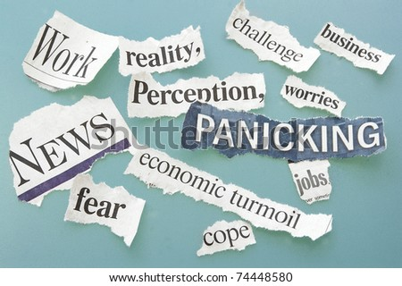 newspaper headlines of bad or negative themes - stock photo