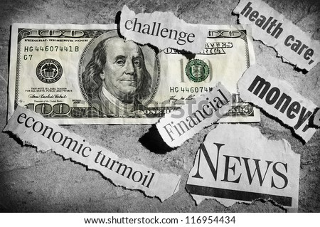 newspaper headlines showing bad news, and money