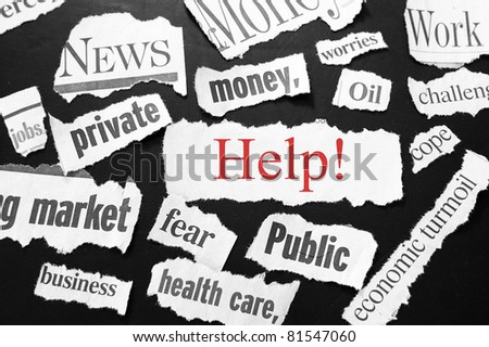 newspaper headlines showing bad news, help in red - stock photo