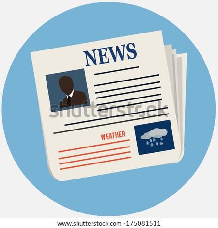 newspaper icon - stock photo