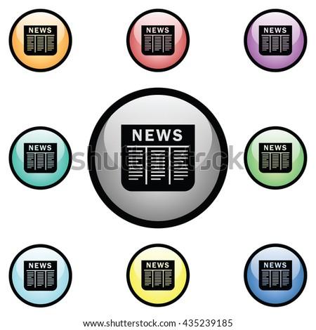 Newspaper Icon Glass Button Icon Set.  Raster Version - stock photo
