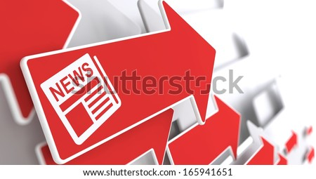 Newspaper Icon with News Title - Red Arrow on a Grey Background. Mass Media Concept. - stock photo