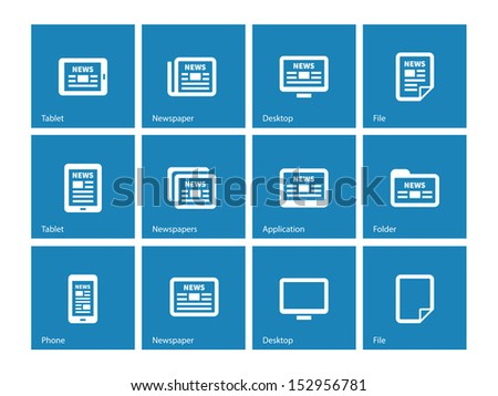 Newspaper icons on blue background. See also vector version. - stock photo