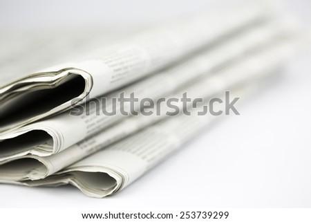 newspaper isolated on white background - Stock Image - stock photo