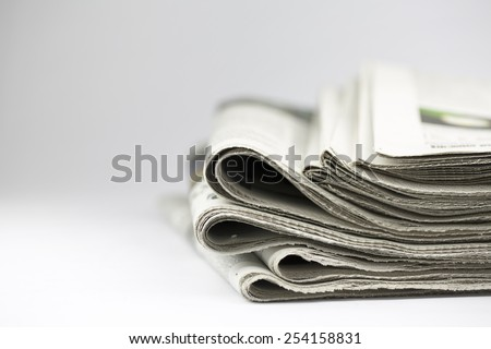 newspaper isolated on white background - Stock Image - stock photo