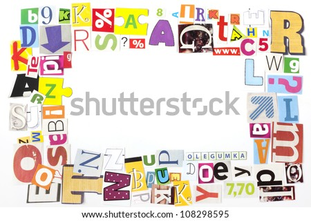 newspaper letters artwork frame concept background - stock photo
