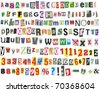 Newspaper letters, numbers and punctuation marks, isolated on white - stock photo