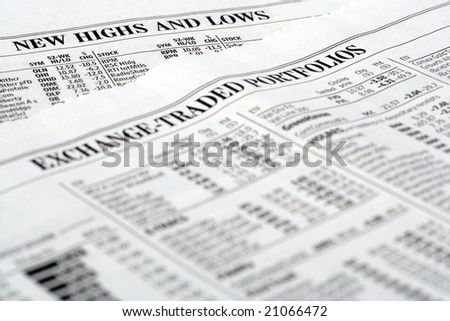 Newspaper listing stocks bonds and portfolios update - stock photo