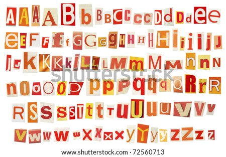 Newspaper, magazine alphabet. Selected red, yellow, orange and white colors. - stock photo