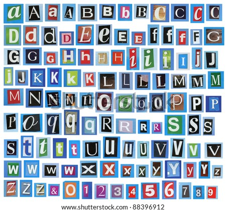 Newspaper, magazine alphabet with letters, numbers. - stock photo