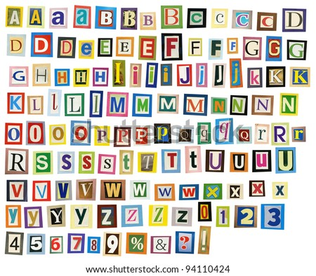 Newspaper, magazine alphabet with letters, numbers.