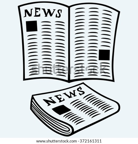 Newspaper, news. Isolated on blue background. Raster version - stock photo