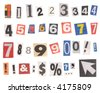 Newspaper number cutouts isolated on white. Mix and match to make your own number compilation. - stock photo