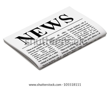 Newspaper on white background, 3d render - stock photo