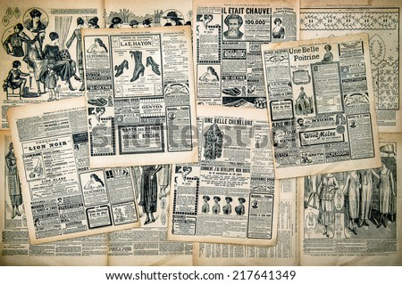 Newspaper pages with antique advertising. Woman's fashion magazine Le Petit Echo de la Mode from 1919. Retro style toned picture - stock photo