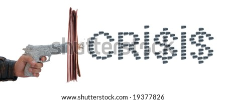 newspaper pistol and bullet on white. crisis, dollar - stock photo